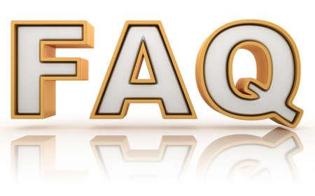 onbeantwoorde: FAQ - veel gestelde vragen afkorting, gouden brief ondertekenen geïsoleerd op witte achtergrond Stockfoto