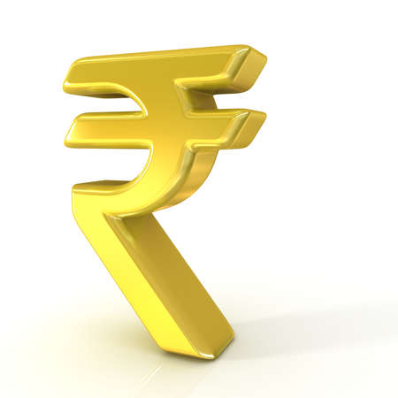 rupee: Indian rupee 3d golden sign isolated on white background