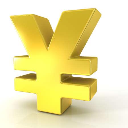 japanese yen: Japanese yen 3d golden sign isolated on white background Stock Photo