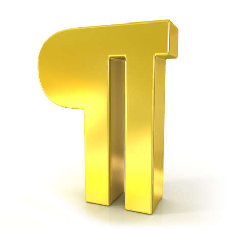 symbol  punctuation: Pilcrow 3d golden sign isolated on white background