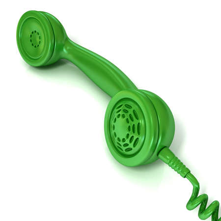outgoing: Green telephone handset, retro illustration for design, isolated on white background, outgoing call