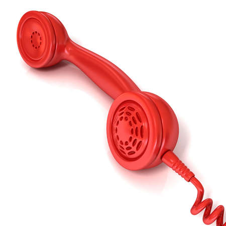 outgoing: Red telephone handset, retro illustration for design, isolated on white background, outgoing call