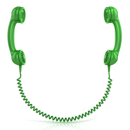 old phone: Green old fashion phone handsets connected isolated on white background, front view