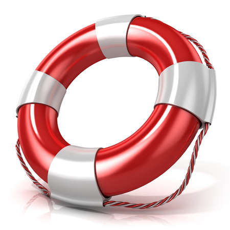 ship sign: Lifebuoy isolated on white background. Right side view Stock Photo