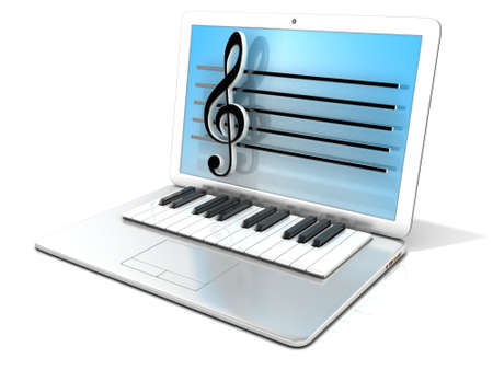intonation: Laptop with piano keyboard. 3D rendering - concept of computer, digitally generated music. Isolated on white background Stock Photo