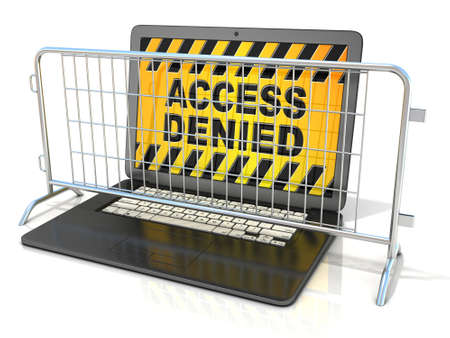 barricades: Black laptop with ACCESS DENIED sign on screen, and steel barricades. 3D rendering isolated on white background