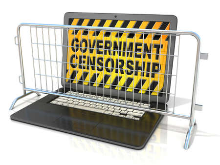 dictatorial: Black laptop with GOVERNMENT CENSORSHIP sign on screen, and steel barricades. 3D rendering isolated on white background
