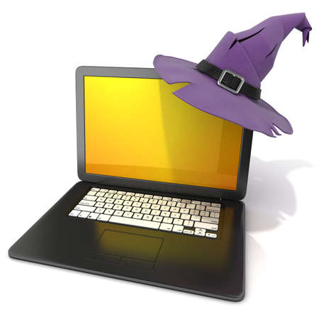 3d witch: 3D rendering of a open black laptop with Halloween colored screen and purple witch hat, with black belt. Isolated on white background. Side view