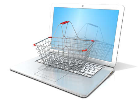 checkout line: Laptop with steel shopping basket. 3D rendering - concept of online shopping. Isolated on white background