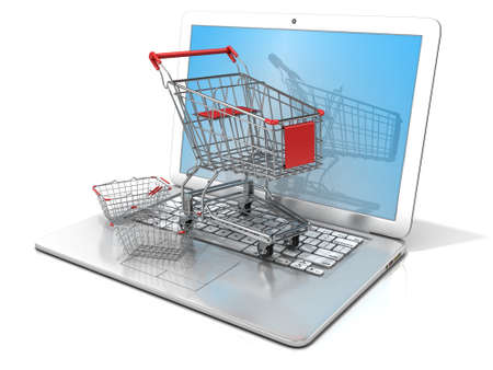 shopping trolley: Laptop with steel shopping basket and shopping cart. 3D rendering - concept of online shopping. Isolated on white background Stock Photo