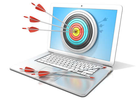 Laptop with archery target and red arrows in the center. 3D rendering - concept of search engine optimization - SEO. Isolated on white background Фото со стока