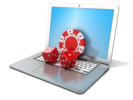 fichas casino: Ordenador portátil con los dados rojos y chip. Representación 3D - concepto de juegos de azar en línea. Aislado en el fondo blanco