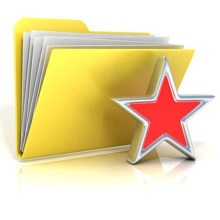 Favorites, star folder icon, 3D render illustration, isolated on white background
