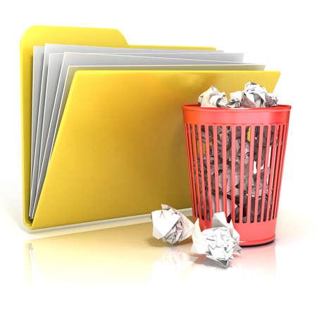 full red: Pieno riciclo rosso sull'icona della cartella bin, rendering 3D illustrazione, isolato su sfondo bianco Archivio Fotografico