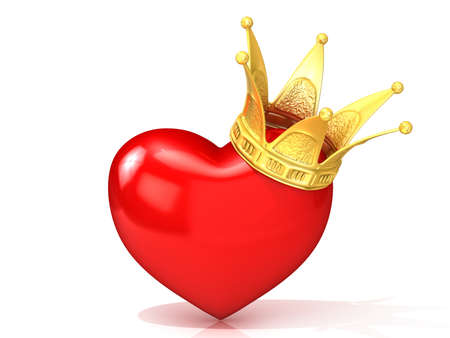 paramour: Red heart with golden crown. 3D render illustration isolated on white background.