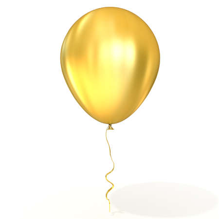 balloons celebration: Golden balloon with ribbon isolated on white background