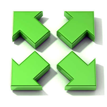 expanding: Green 3D arrows expanding. Top view isolated on white background. Stock Photo
