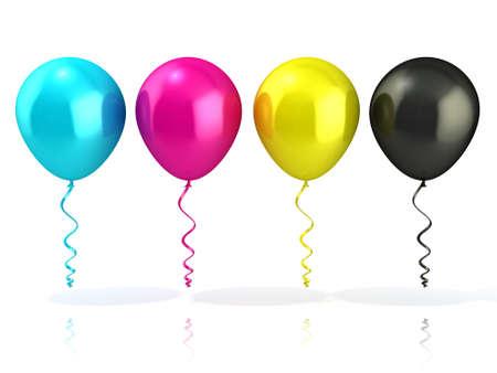CMYK balloons isolated on white 版權商用圖片 - 40637021