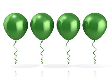 Green balloons isolated on white background