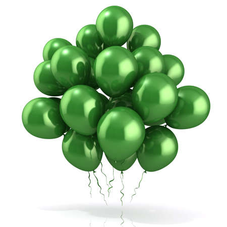 Green balloons crowd isolated on white background