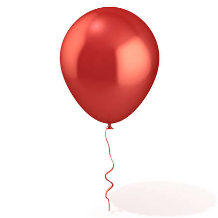 Red balloon with ribbon isolated on white background Imagens