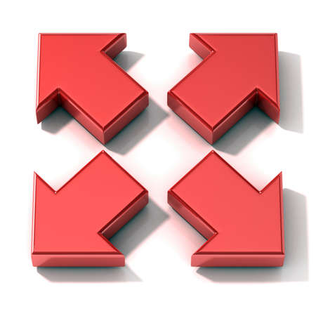 expanding: Red 3D arrows expanding. Top view isolated on white background.