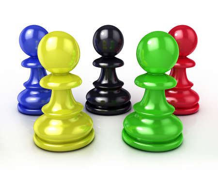 Colorful chess pawns