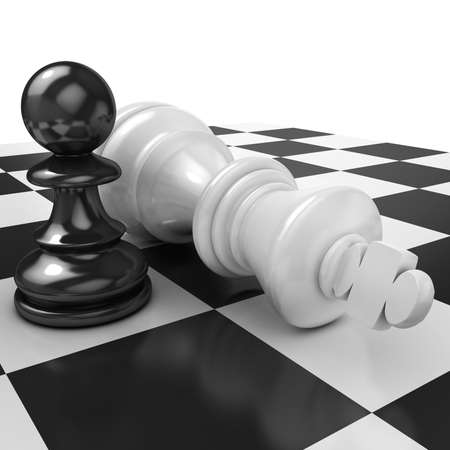 stubbornness: White pawn standing over fallen black king isolated on white chessboard