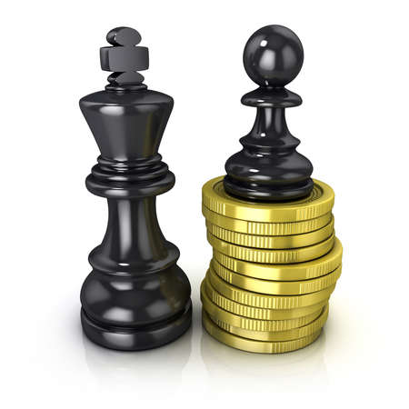 adversary: Black pawn standing on coins and black king, placed in the same plane, isolated on white background