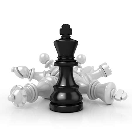 stubbornness: Black king standing over fallen black chess pieces, isolated on white background