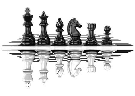 preferment: Chess black and white pieces, standing on board, mirrored. Isolated on white background