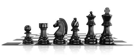 preferment: Chess black pieces, standing on board. Isolated on white background Stock Photo