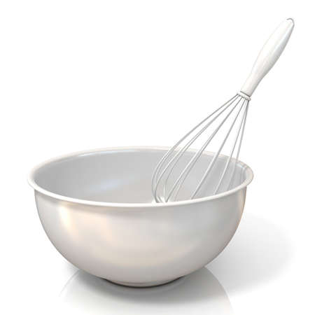 wire whisk: Bowl with a wire whisk, isolated on white