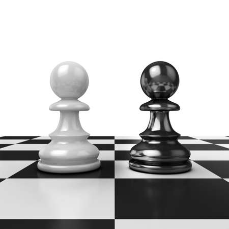 adversary: Two chess pawns black and white figures on board Stock Photo