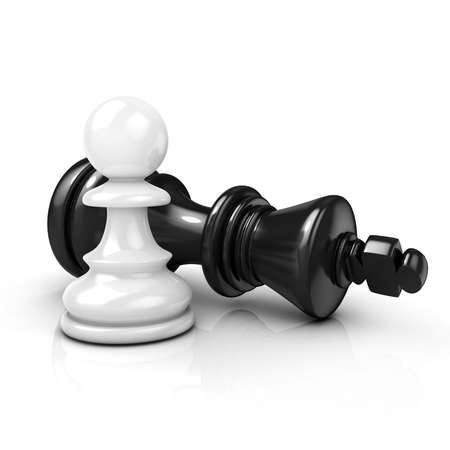 stubbornness: White pawn standing over fallen black king isolated on white background Stock Photo
