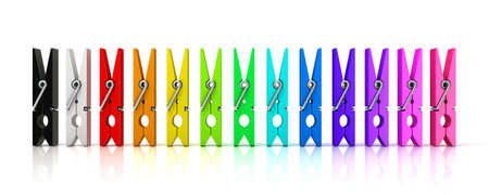 yard stick: Set of colorful clothes pins. Front view isolated on white background