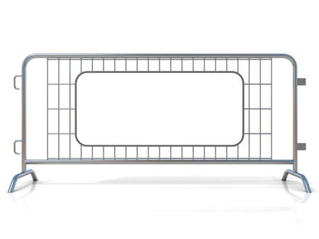 Steel barricades isolated on white background. Front view with sign board Stock Photo