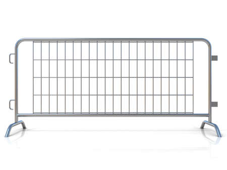 outcry: Steel barricades isolated on white background. Front view