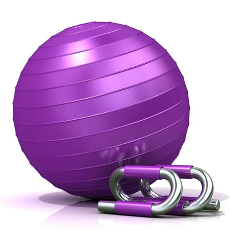 matt: Violet fitness ball and pushup bars isolated on white