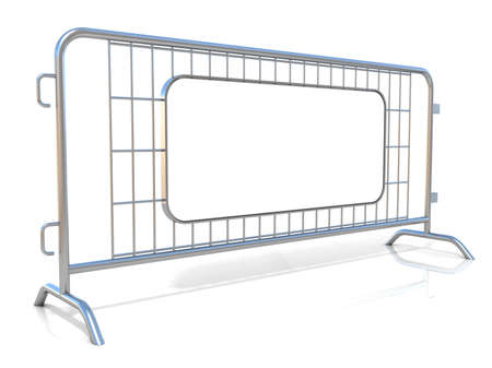 barricades: Steel barricades isolated on white background. Side view with sign board Stock Photo