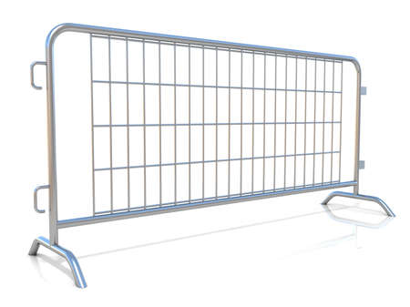 barricades: Steel barricades isolated on white background. Side view