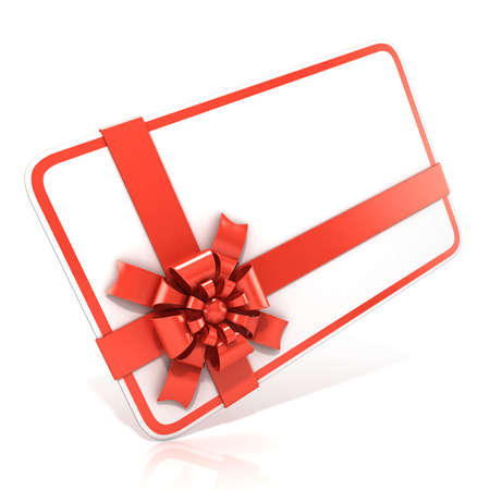 angled view: White blank gift card with red ribbon. 3D render illustration isolated on white. Side angled view