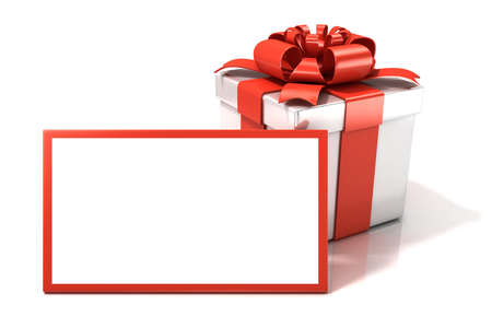 Gift box with blank gift card. 3D render illustration isolated on white. Stock Photo