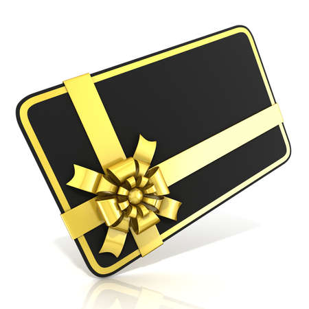 angled view: Black blank gift card with golden ribbon. 3D render illustration isolated on white. Side angled view