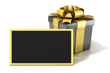 Black elegant Gift box with black blank gift card. 3D render illustration isolated on white.