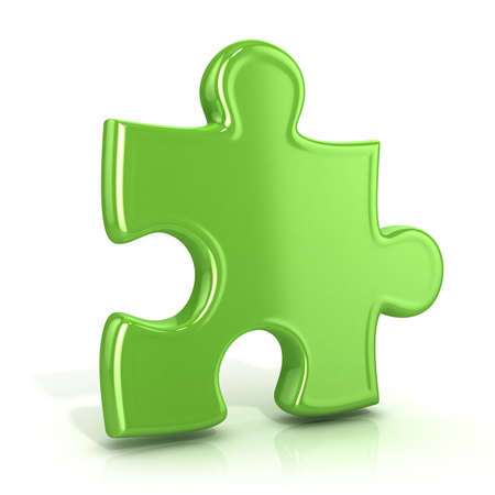 usual: Single green standing jigsaw puzzle piece. 3D render icon isolated on white background. Usual angle Stock Photo
