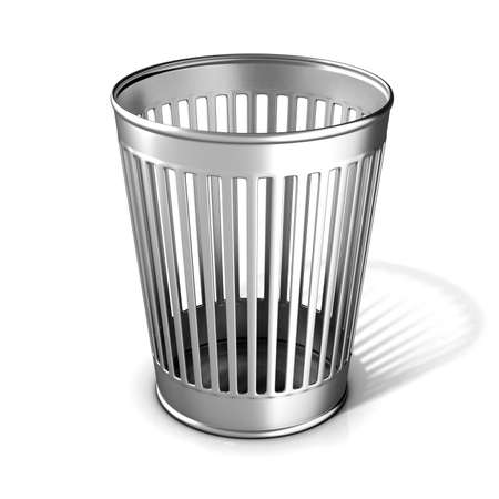 Empty metal trash bin isolated on white background Stock Photo