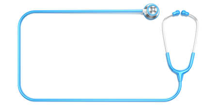 Blue stethoscope as frame with space for text. Top view Imagens