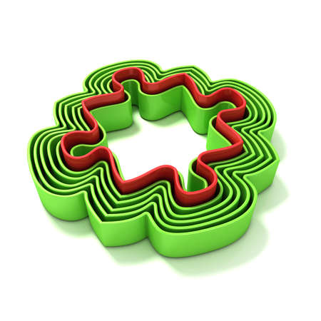 outlined isolated: Concentric jigsaw puzzle outlined pieces. Isolated on a white