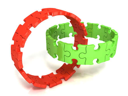chain reaction: Two red and green puzzle rings isolated on white background